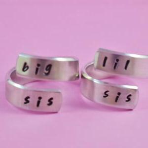 big sis / lil sis - Hand stamped Sp..