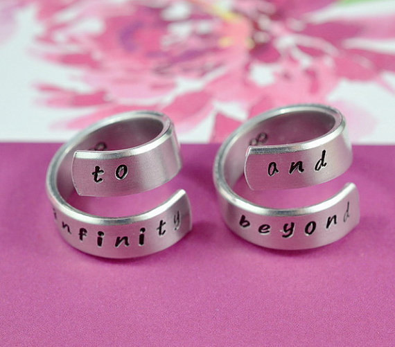 to infinity and beyond - Hand stamped Spiral Aluminum Ring Set, Forever Love Rings, Friendship Gift, Personalized Gift, Handwritten Font
