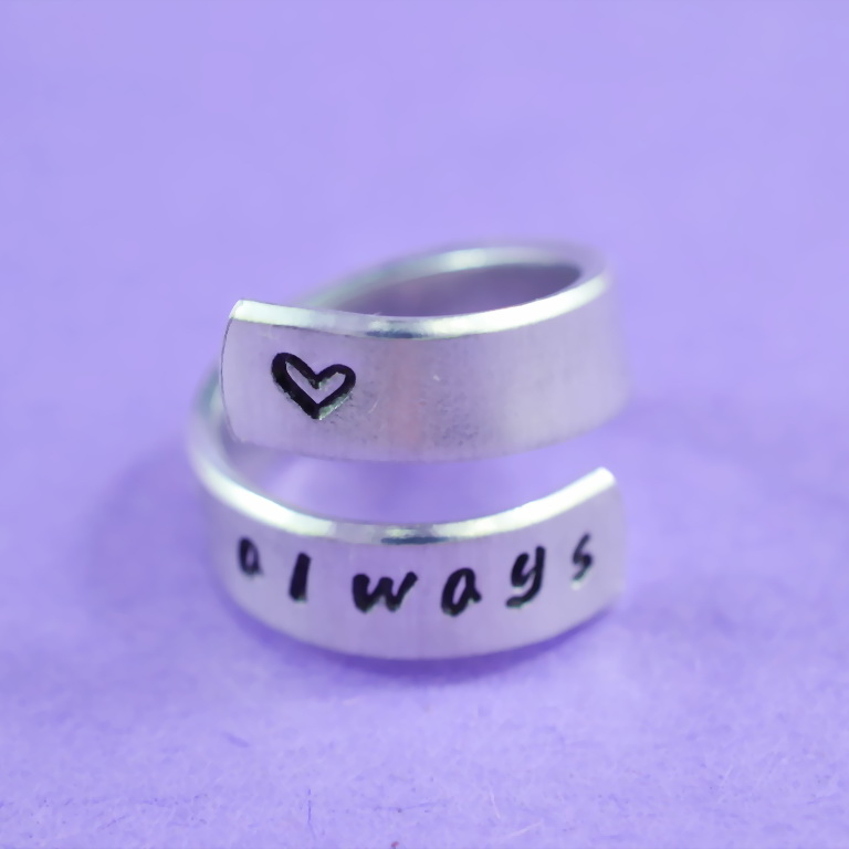 always - Hand Stamped Aluminum Spiral Ring, Handwritten Font, Forever Love, BFF Gift