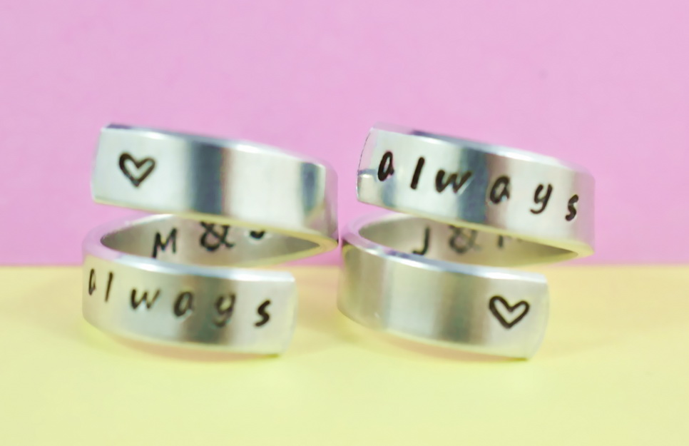 love always/always love - Spiral Rings Set, Hand stamped, Handwritten Font, Shiny Aluminum, Forever Love, Friendship