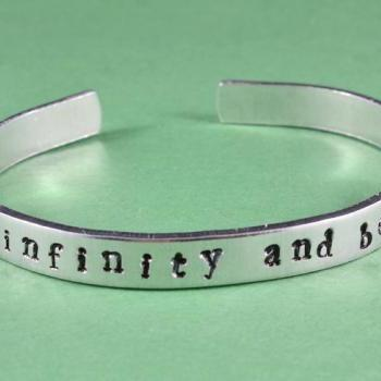 to infinity and beyond - Hand Stamped Aluminum Bangle Bracelet, Shiny, Skinny, Adjustable