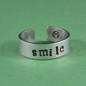 smile Ring - Hand Stamped Aluminum Ring, Skinny Ring, Be Happy Everyday