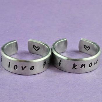 i love you i know - Hand Stamped Aluminum Couples Ring Set, Shiny, Skinny Rings, Handwritten Font