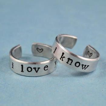 i love you i know - Hand Stamped, Couples Ring Set, Shiny, Skinny Aluminum Rings, Newsprint Font