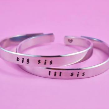 big sis / lil sis - Hand Stamped Aluminum Cuff Bracelets Set, Handwritten Font, Forever Love, Friendship, BFF