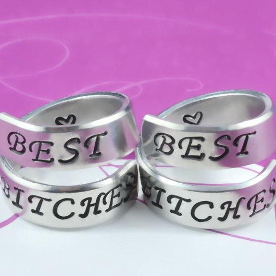 BEST BITCHES - Spiral Rings Set, Hand Stamped Aluminum Rings, Friendship Rings, BFF Gift, Uppercase Script Font