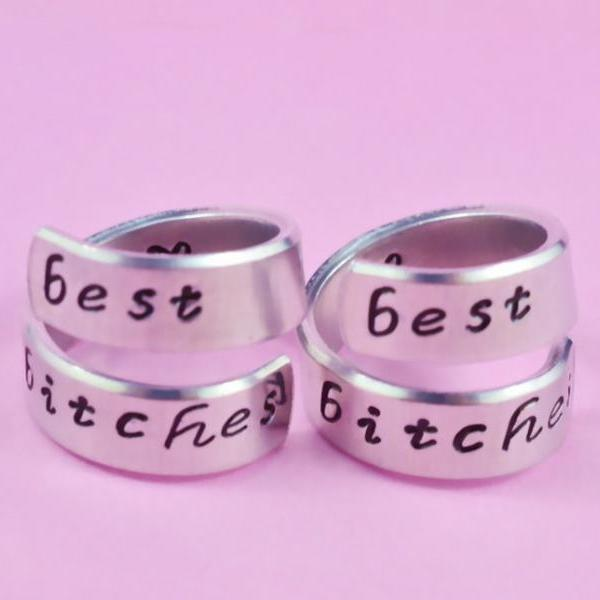 best bitches - Hand Stamped Spiral Rings Set, Personalized Gift , Shiny Aluminum Rings, Friendship, BFF Gift, Script Font